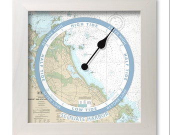 Scituate Harbor Tide Clock (A) nautical chart, hang or stand, wood frame, gift idea