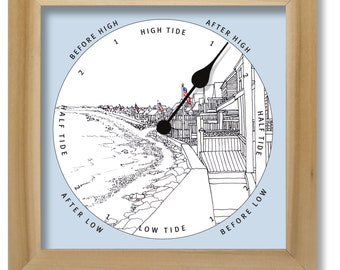 Beach houses illustration tide clock, nautical chart, hang or stand, tideclock
