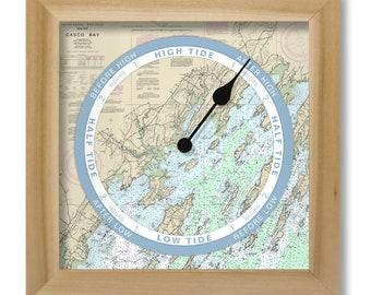 Casco Bay Tide Clock, nautical chart, hang or stand, wood frame, gift idea
