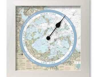 Plymouth, Kingston, and Duxbury Bay tide clock, nautical chart, hang or stand, wood frame, gift idea