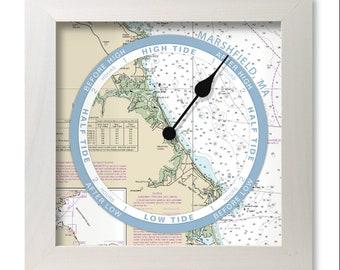 Marshfield, Massachusetts tide clock, nautical chart, hang or stand, wood frame, gift idea
