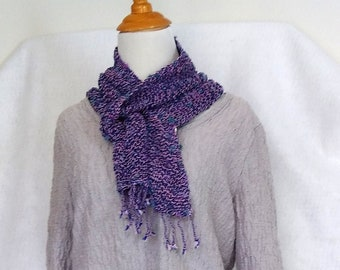 Blue violet scarf, handwoven lightweight mesh lace