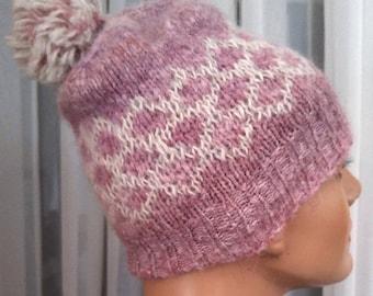 handknit alpaca pompom beanie hat, pink  winter hat for woman teen, handmade gift hat