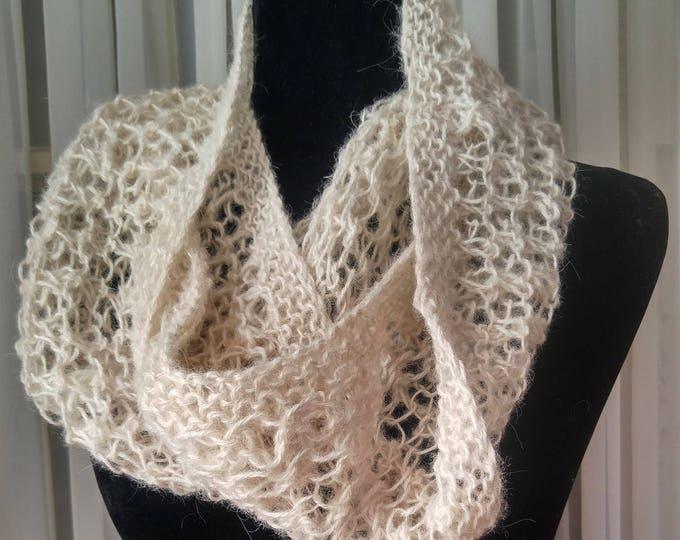 Alpaca loop scarf hand-knit, lacy infinity scarf white alpaca, hand-knit cowl alpaca luxury