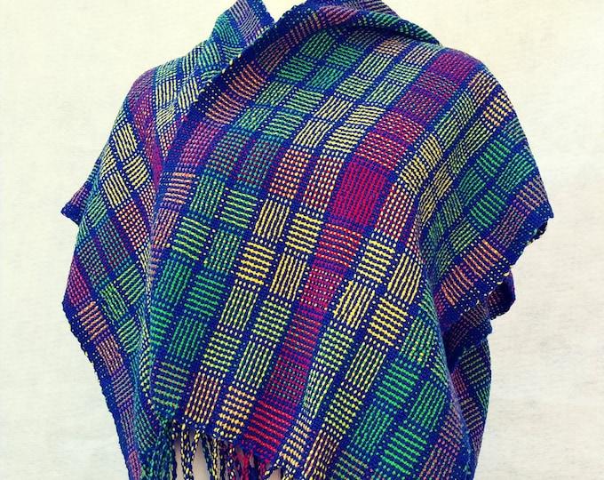 multicolor shawl woven v-back shawl blue red pattern shawl maya-style cotton loomed shawl blue plaid hand-woven cotton poncho ruana blue