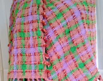hand woven cotton shawl, loomed lap robe, loose woven brown green hippie shawl with fringe,