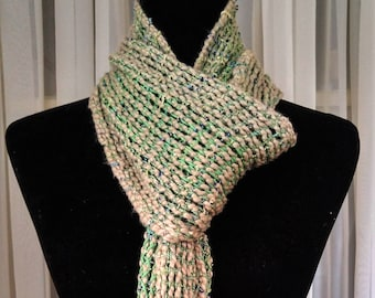 Woven mesh scarf green and taupe, hand-loomed green tan scarf, lacy light summer scarf for her