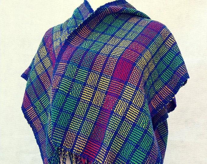 Hand woven ruana shawl in multi color cotton