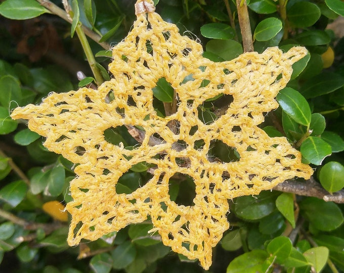 gold crochet snowflake ornament,