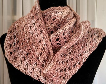 beige tan loop scarf hand knit, linen infinity loop scarf, lightweight loop cream natural colors,