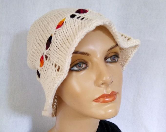cream sun hat hand-knit cotton linen bucket hat for summer