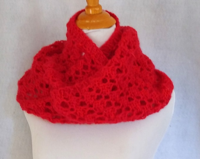 red mohair loop scarf handknit lace cowl