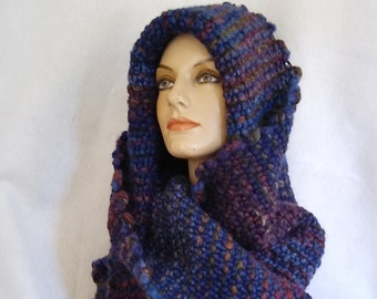 Romantic hooded shawl hand-woven in dark blue chunky wool blend yarns. One of a kind item (ooak). In stock and ready to ship.