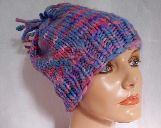 multicolor knit hat with extravagant tassle hand-crafted from chunky yarn lilac color dominant