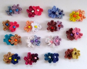colorful playful crochet flower clips