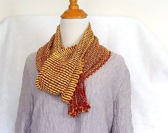 Loose weave scarf hand-woven in red and yellow, loomed casual summer scarf, OOAK artisan crafted caribbean colors, ready to ship