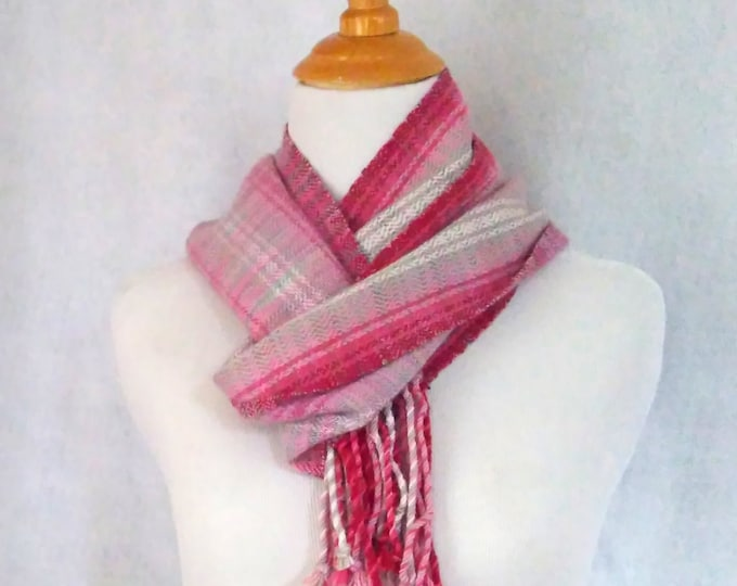 gray pink scarf hand-woven twill striped scarf red pink gray white lightweight hand-loomed snuggly scarf woven scarf pretty in pink scarf
