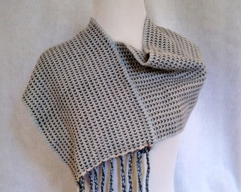 gray blue loop scarf fringed mobius shawl woven twill shoulder wrap cashmere alpaca luxury scarf V-back shawl hand-loomed scarf twill