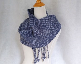 Handwoven blue  and gray scarf for men or women