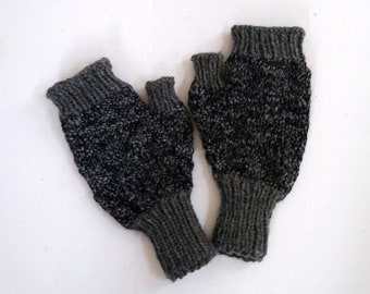 Dark gray warm fingerless mittens hand knit. In stock and ready to ship. Matching infinity scarf for a warm winter set.