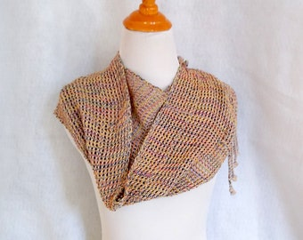 hand-woven beige mesh scarf, loomed lace scarf