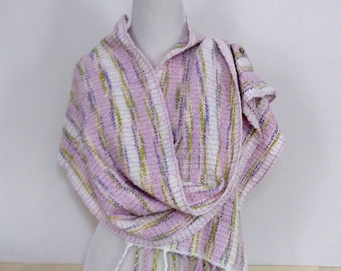 Hand woven shawl featuring spring pastel colors