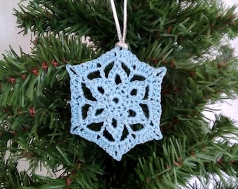 blue crochet snowflake christmas decoration, Christmas snowflake ornament, sparkly crochet winter decor