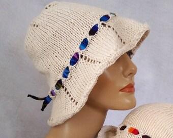 cream sun hat knit linen bucket hat hand knit summer hat linen brimmed hat floppy sun hat linen cotton cool summer sunhat linen beach hat