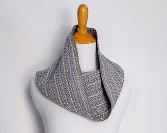Gray and yellow infinity scarf hand woven