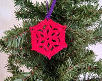 crochet snowflake red, xmas tree ornament, retro Christmas decor, winter wedding ornament, gift under 10