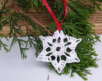 star shaped white snowflake ornament crocheted with silver sparkle, handmade nostalgic christmas tree decoration, winter wedding decor