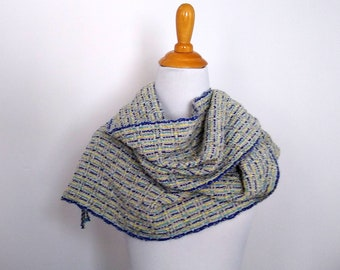 beige blue yellow scarf handwoven, lightweight woman's handloomed scarf, handmade artisan ooak gift ready to ship