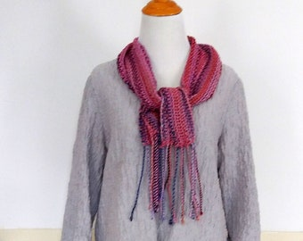 Handwoven lace scarf in mauve coral purple, all season light weight scarf with drape loomed by hand, perfect accessory for video calls