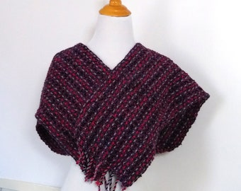 handwoven scarf for man or woman gray red black