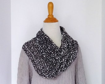 woven moebius scarf in black white gray mesh lace,
