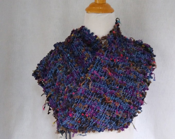 blue and purple handwoven scarf mesh lace