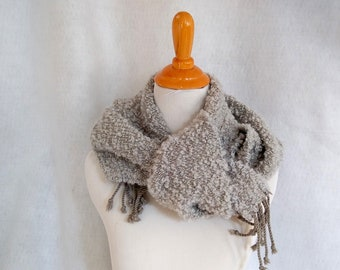 gray winter scarf hand-woven twill boucle