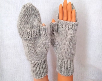 flip-top mittens, hand-knit natural alpaca mittens made to order