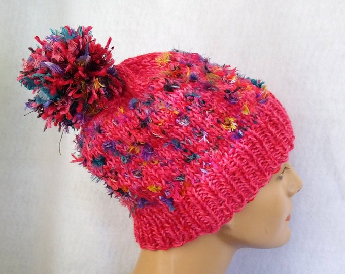 pink bling beanie with pompom, playful winter pompom hat handknit