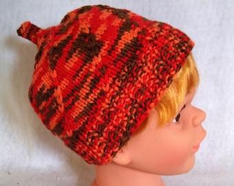 knit baby beanie orange, colorful cotton hat for child, pumpkin hat toddler