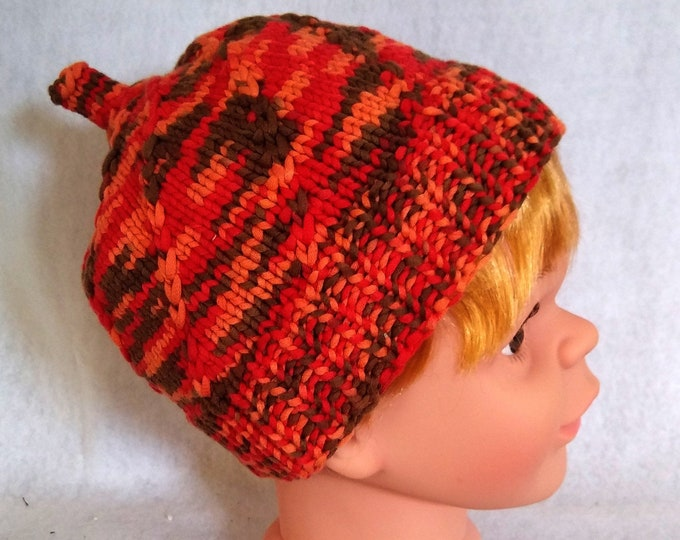 knit baby beanie orange, colorful cotton hat for child, pumpkin hat toddler