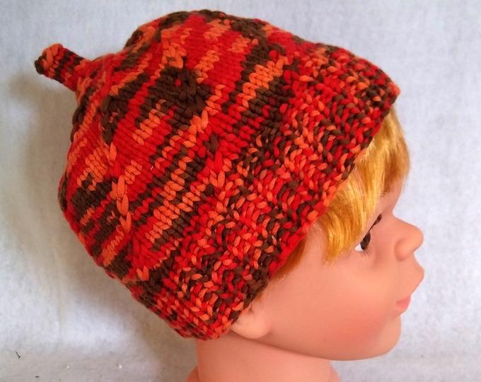 knit baby beanie orange, colorful cotton hat for child, cheerful handknit toddler hat for autumn, knit pumpkin hat