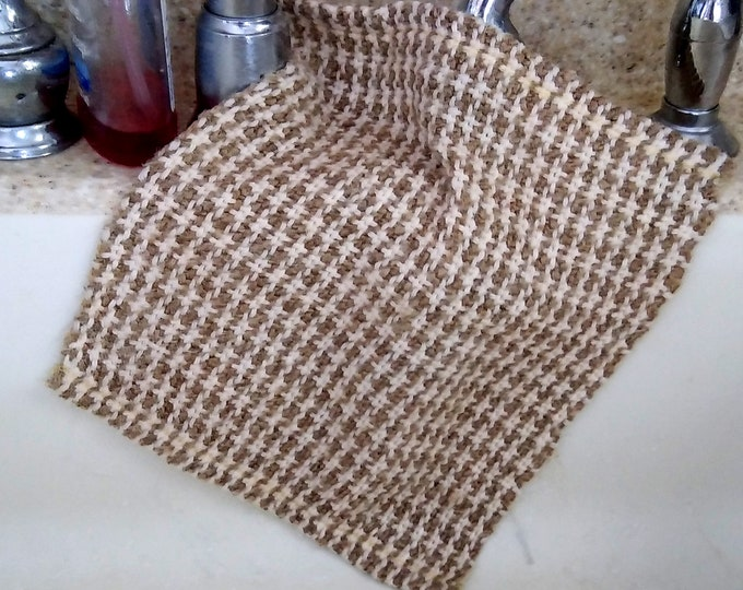 Woven face cloth cotton and hemp, natural exfoliating wash cloth, luxury bath accessory, loomed spa cloth