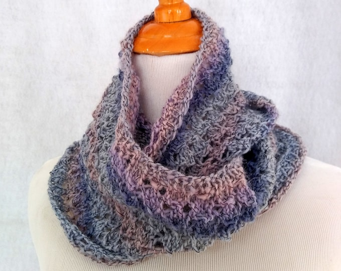 Hand-knit lace infinity loop scarf in blues. Lightweight blue wool loop scarf is in stock and ready to ship. Gift item.