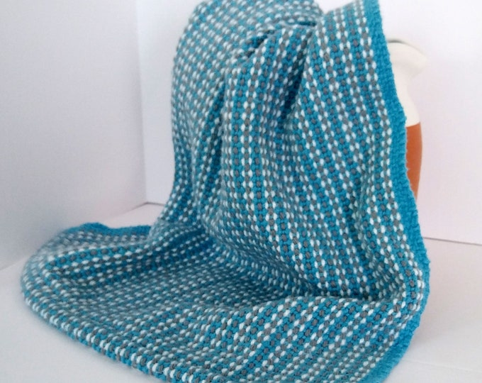 Blue white gray woven hand towel