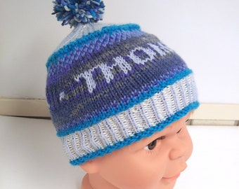 hand-knit baby boy hat with name, personalized boy pompom hat, custom knit baby hat,  baby shower gift under 50