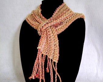 Coral cream loomed scarf keyhole loop design easy to wear scarf hand-woven leno lace pattern short fringed scarf