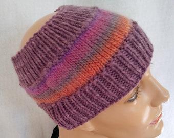 violet rainbow earwarmer messy bun beanie knit long hair cap beanie multicolor winter headband winter sports earwarmer winter hat