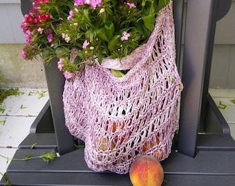 purple cream reusable farmer's market bag