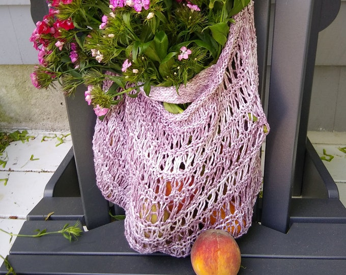 purple cream reusable farmer's market bag